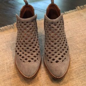 Jeffrey Campbell grey suede perforated booties